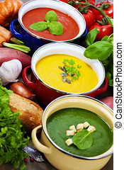 traffic light soups - Three soaps are located in the form of...
