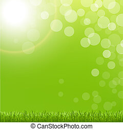 Abstract Green Bubble With Grass And Sun
