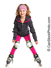 Cute girl in roller skates on a white background