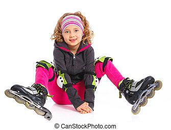 Cute girl in roller skates