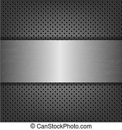 Metal Background With Metal Plate With Gradient Mesh, Vector...