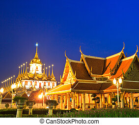 Loha Prasat Metal Palace in Bangkok Thailand in Wat...