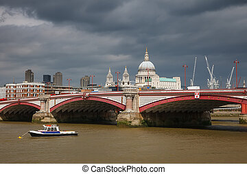 Blackfriars Bridge, London - St Paul Cathedral and...