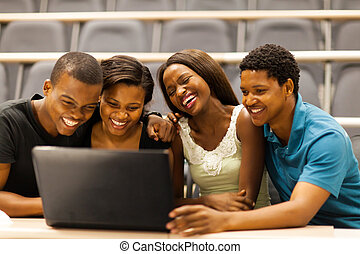 african american college students - group of african...