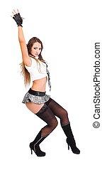 Lovely girl in very short skirt - Young dancer posing in...