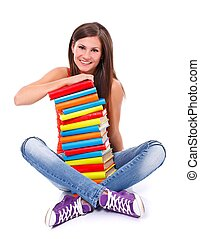 Smiling woman with books - Portrait of a smiling girl...