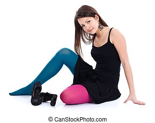 Girl in different colored tights