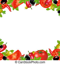 Border Fresh Vegetables With Gradient Mesh, Isolated On Red...