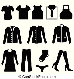 Clothes icons - Clothes icon set in black