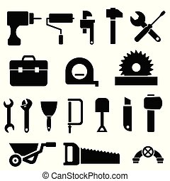 Tool icons in black - Tool and hardware icon set in black