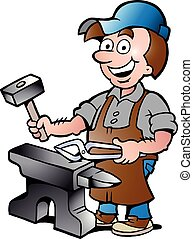 illustration of an Happy Blacksmith - Hand-drawn Vector...