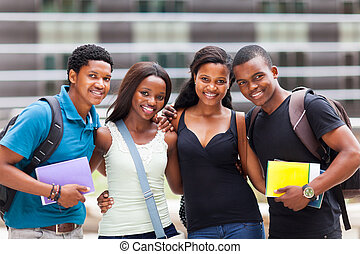 group of happy african college friends