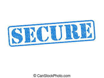 SECURE blue rubber stamp over a white background