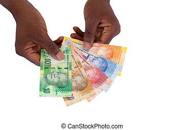 sud, africaine, homme, tenue, nouveau, banque, notes