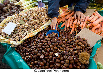 At the public market - Organic fruits and vegetables at the...