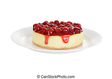 Cherry cheesecake isolated - isolated Cherry cheesecake...
