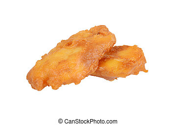 deep fried haddock fish in batter - isolated deep fried...