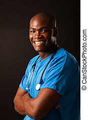 happy african american medical worker studio portrait over...