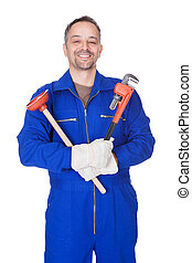 Happy Plumber Holding Plunger And Wrench On White Background
