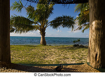 room with a wide view - view out of a samoan beach hut