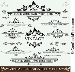 Vintage Design Elements - Vector Set of Vintage Design...