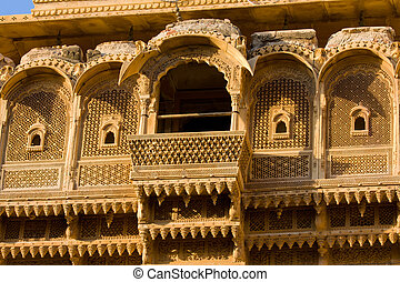 Haveli in Jaisalmer, Rajasthan, India - Palace of the...