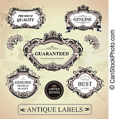 Vector set of antique frames