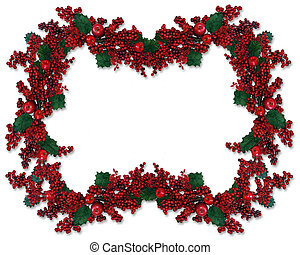 Christmas Holly Berries Border