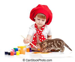 niño, gato, Pintura, juego, gatito