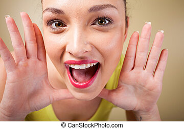 woman funny facial expression - beautiful young woman funny...