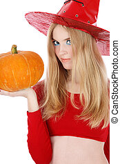 Halloween - Portrait of pretty blond girl in costume of...