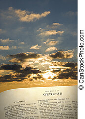Genesis Book & Sky - Vertical image of the Book of...