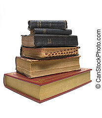 Old on New Bibles - New bible sitting below a stack of...