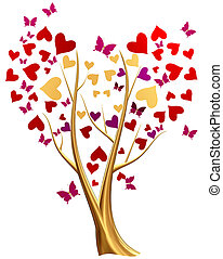 golden tree with hearts and butterflies - Beautiful golden...