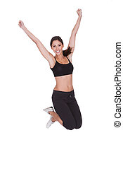 Excited Sporty Woman Jumping
