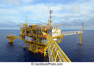 The offshore oil rig. - The offshore oil rig in the gulf of...