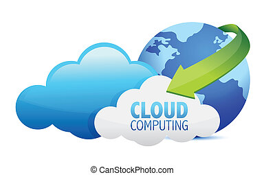 Cloud computing globe and arrows illustration design over a...