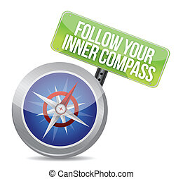Follow Your Inner Compass success road illustration design...