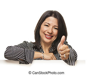 Mixed Race Woman Leaning on Blank White Sign with Thumbs Up