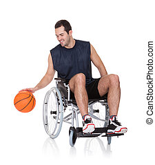 Man in wheelchair playing basketball Isolated on white