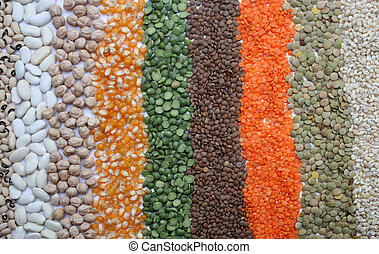 Various seeds and grains close up