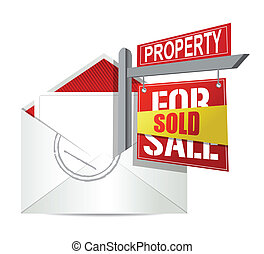 E-mail and real estate sold sign illustration design over...