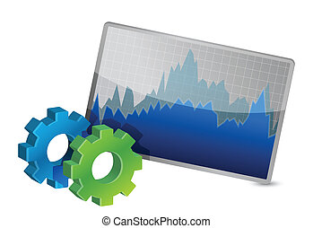 Stock Market Chart and gears illustration on a white...