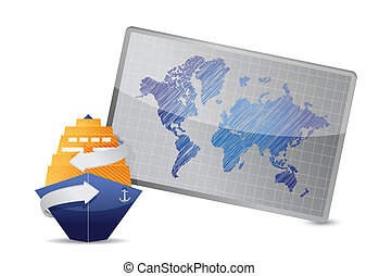 ocean cruise and world map under the white background