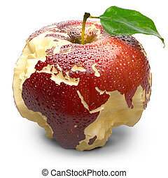 Apple with carved continents Europe and Africa - Red ripe...