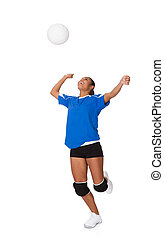 Surprised Young Girl Playing The Volleyball Isolated On...