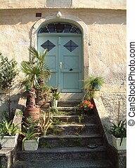 Entrance with green door and flower