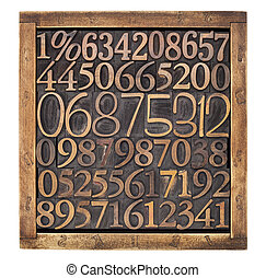 wood type numbers in box - box of numbers - numerical...