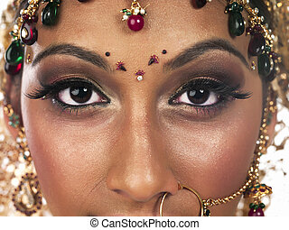 indian woman face close up - Portrait of indian woman face...