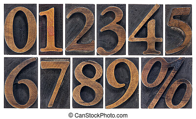 isolated numbers in wood type - a set of isolated 10 numbers...